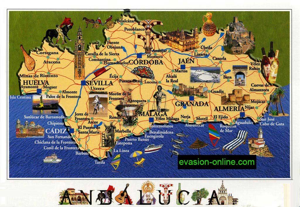 Carte touristique - Andalousie