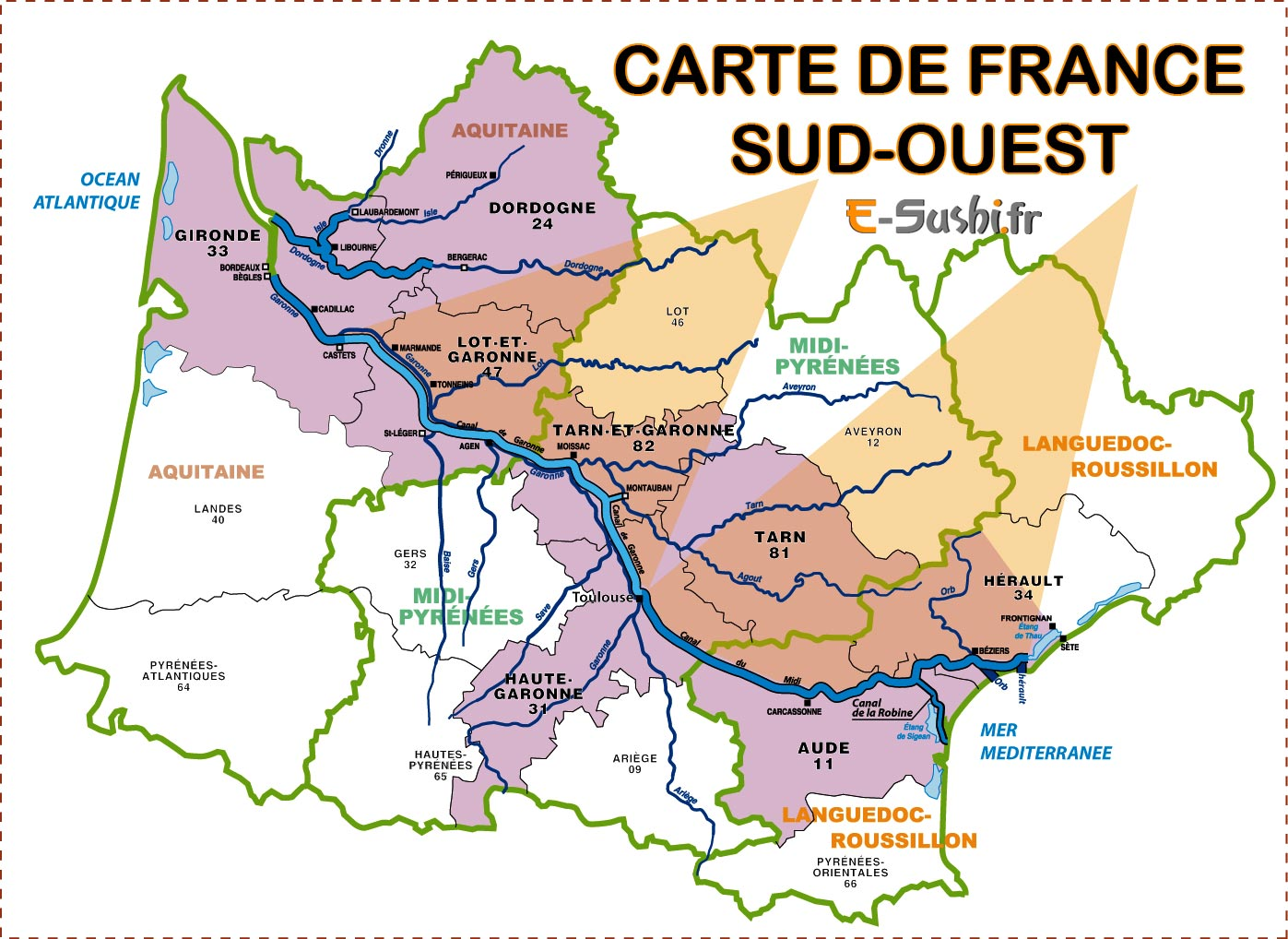 carte Sud-Ouest - France