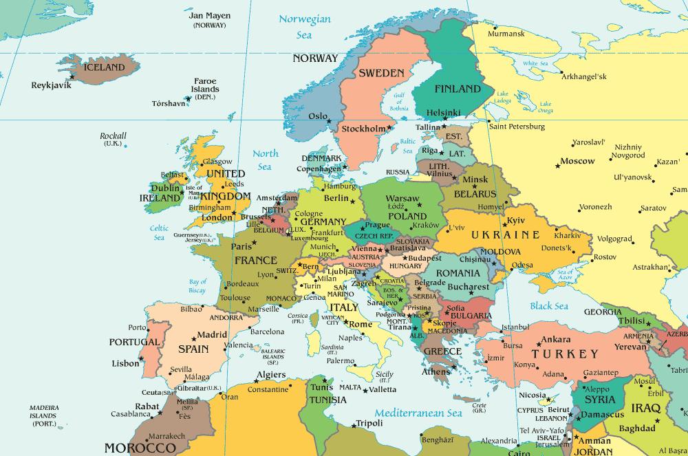 Carte de l'Europe avec capitales et villes principales