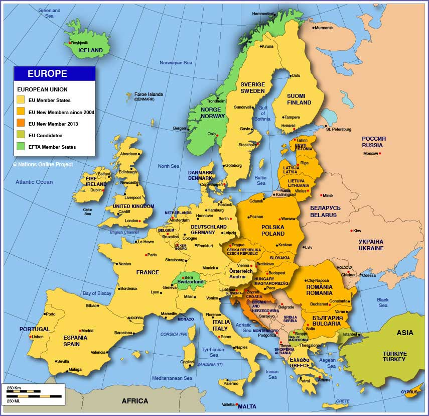 Map Of Europe with countries