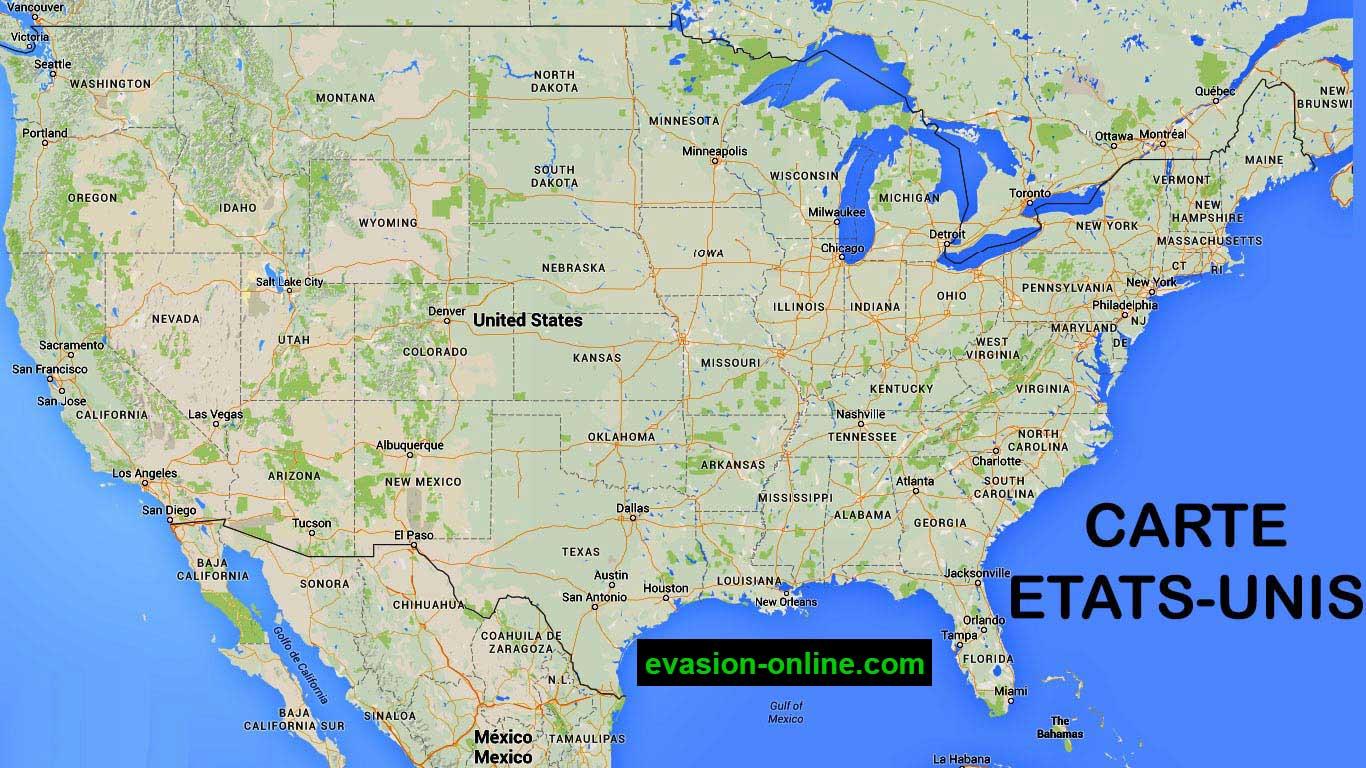 Carte Des Etats Unis D Amerique Avec Villes