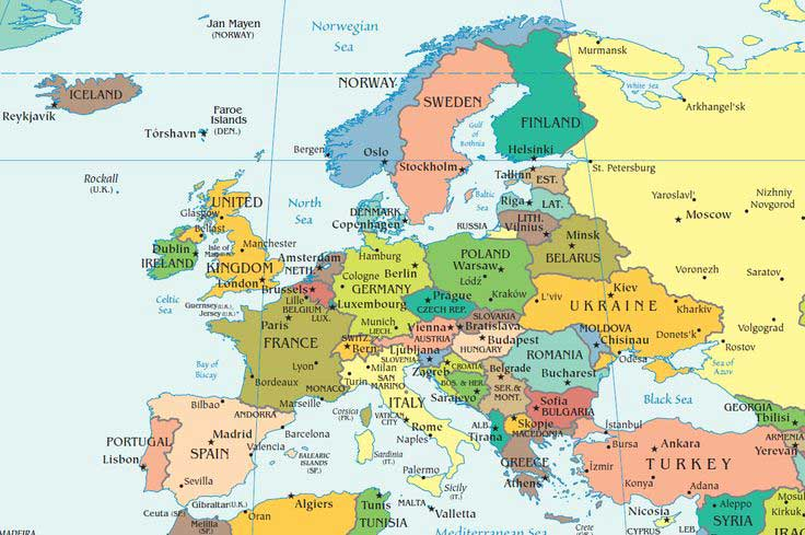 Map of European Countries and Capital Cities