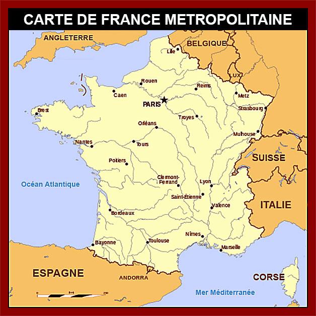 régions de France - carte française métropolitaine