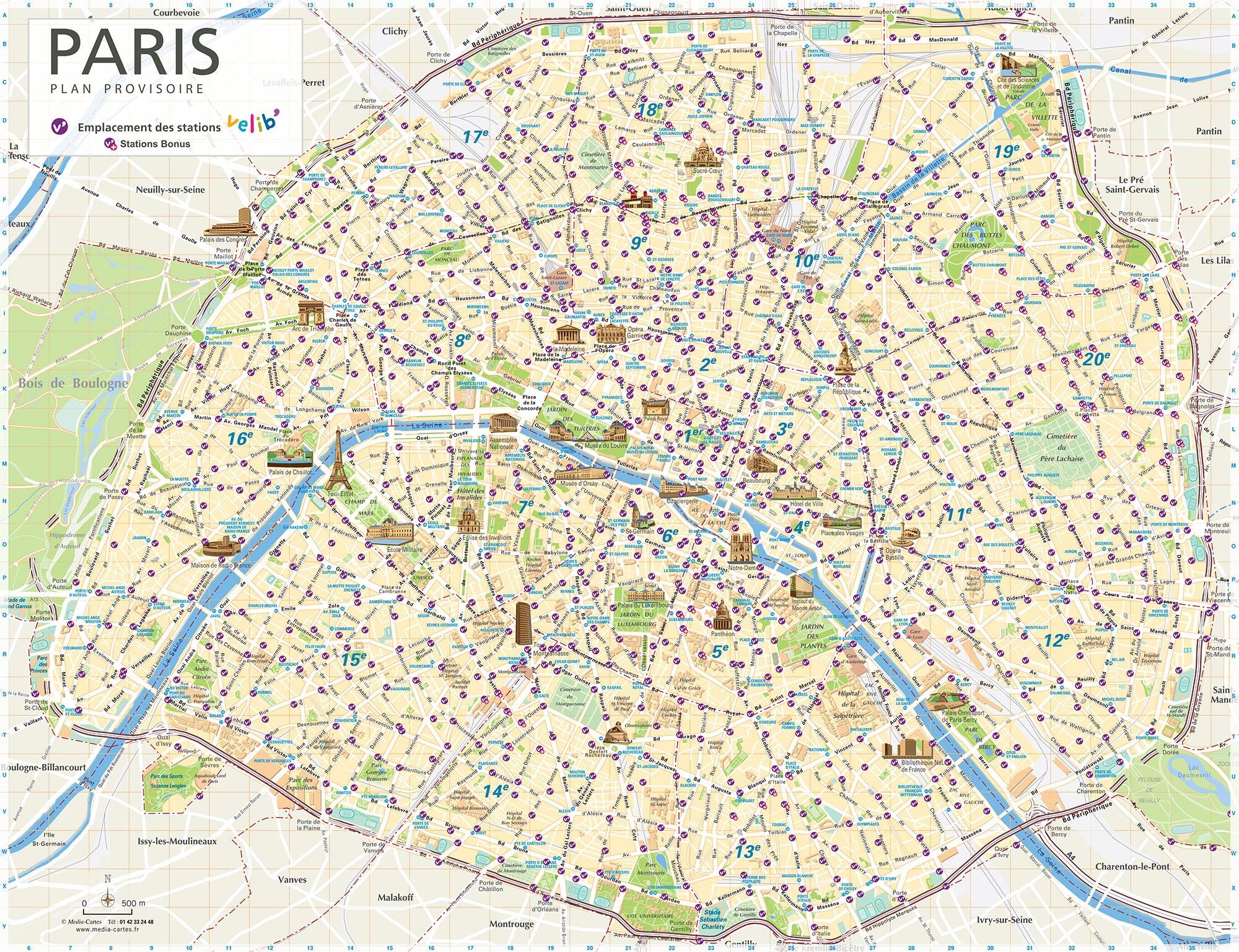 Plan de Paris - Carte Station velib