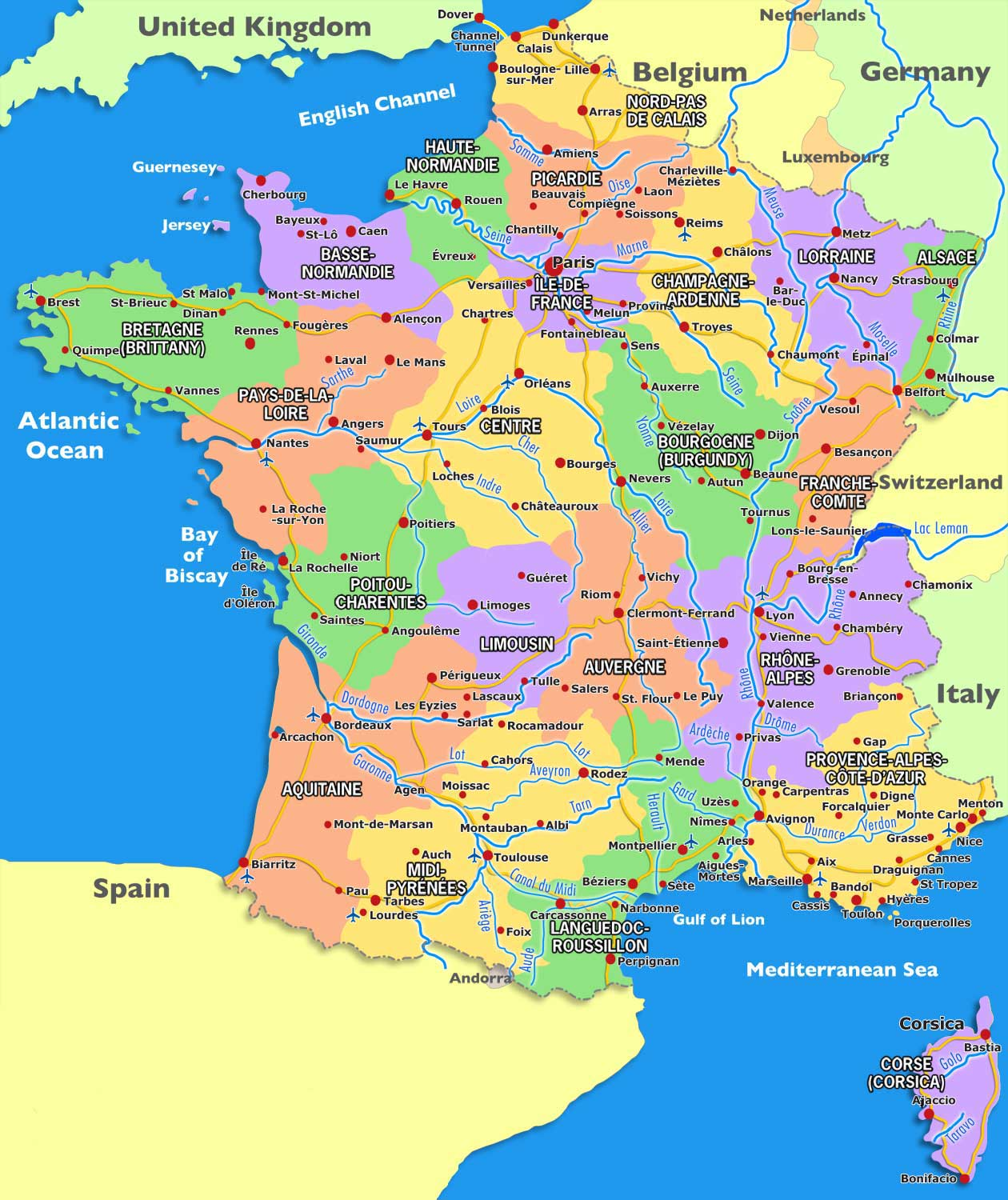 Map of France » Vacances - Arts- Guides Voyages