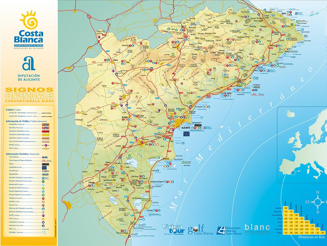 Carte Espagne Costa   Images » Vacances   Arts  Guides Voyages
