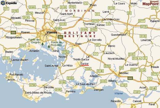 carte et photo de Bretagne sud
