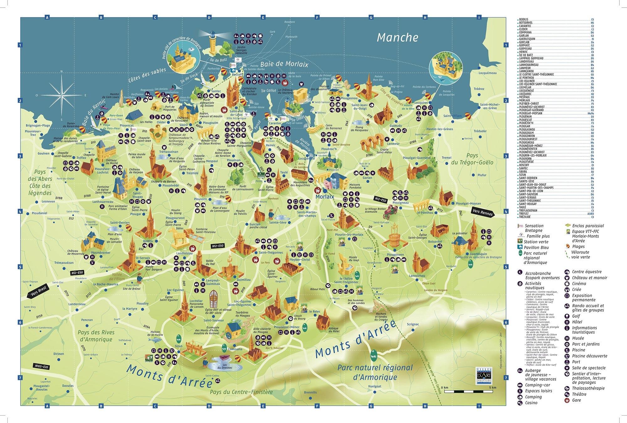 Carte Bretagne Lieux Touristiques.Carte De Bretagne Nord Vacances Arts Guides Voyages