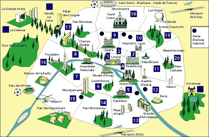 Carte simple de Paris et principaux monuments