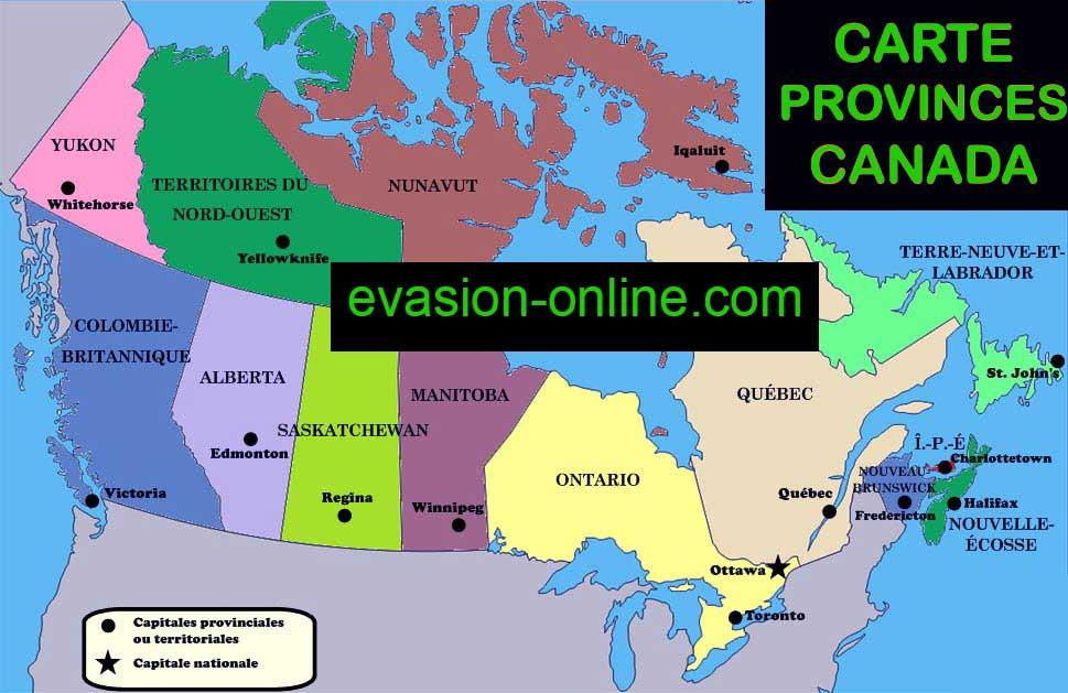 Provinces du Canada et Carte des territoires