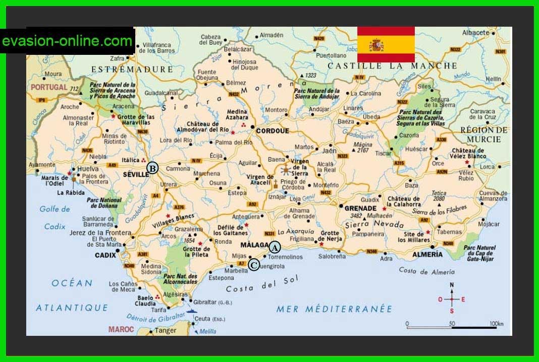 Carte Region Andalousie.Carte Andalousie Vacances Arts Guides Voyages
