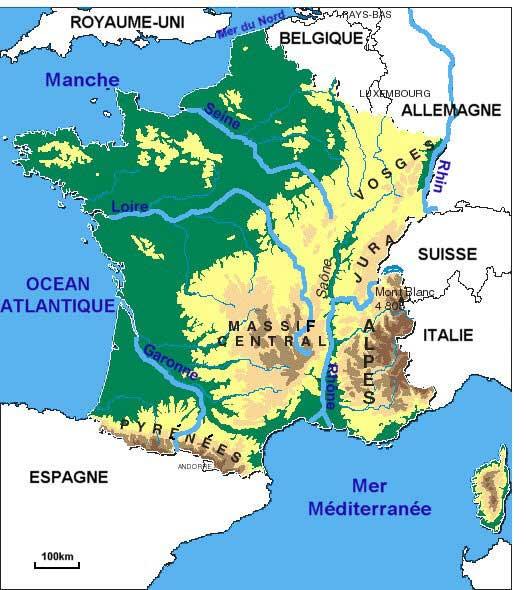 Carte France - Fleuves - Montagnes