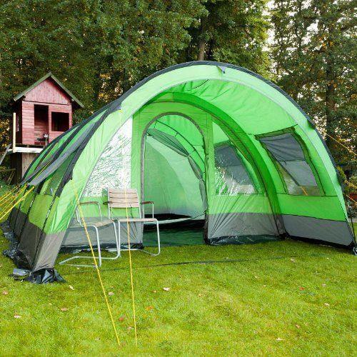 Tente de Camping Skandika Helsinki familiale tunnel Vert/Gris