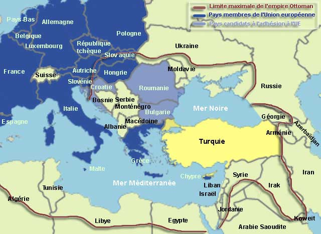 Carte de la Turquie dans l'Europe