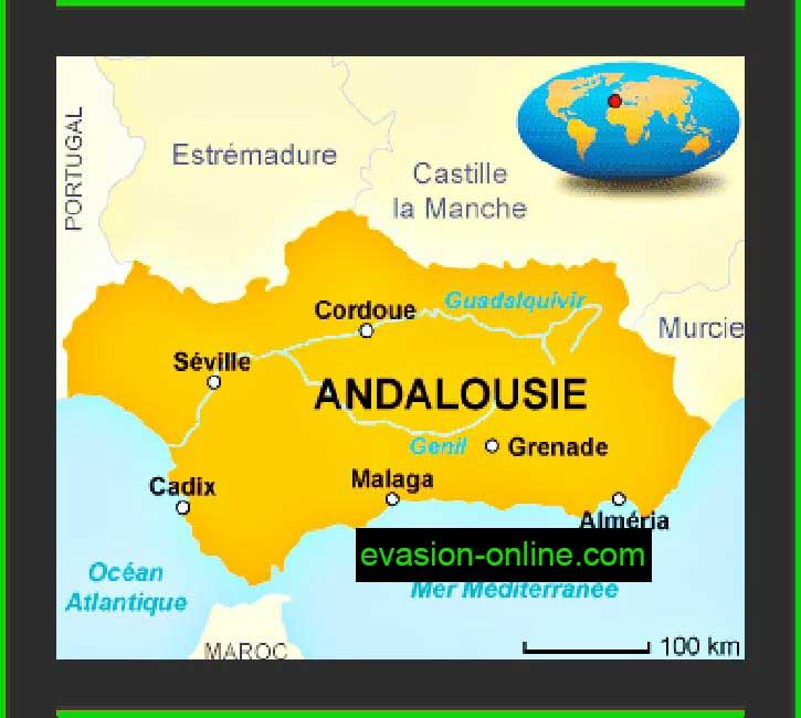 Carte Andalousie et villes principales espagnoles