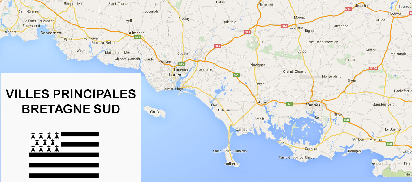routes- autoroutes et villes principales de bretagne sud