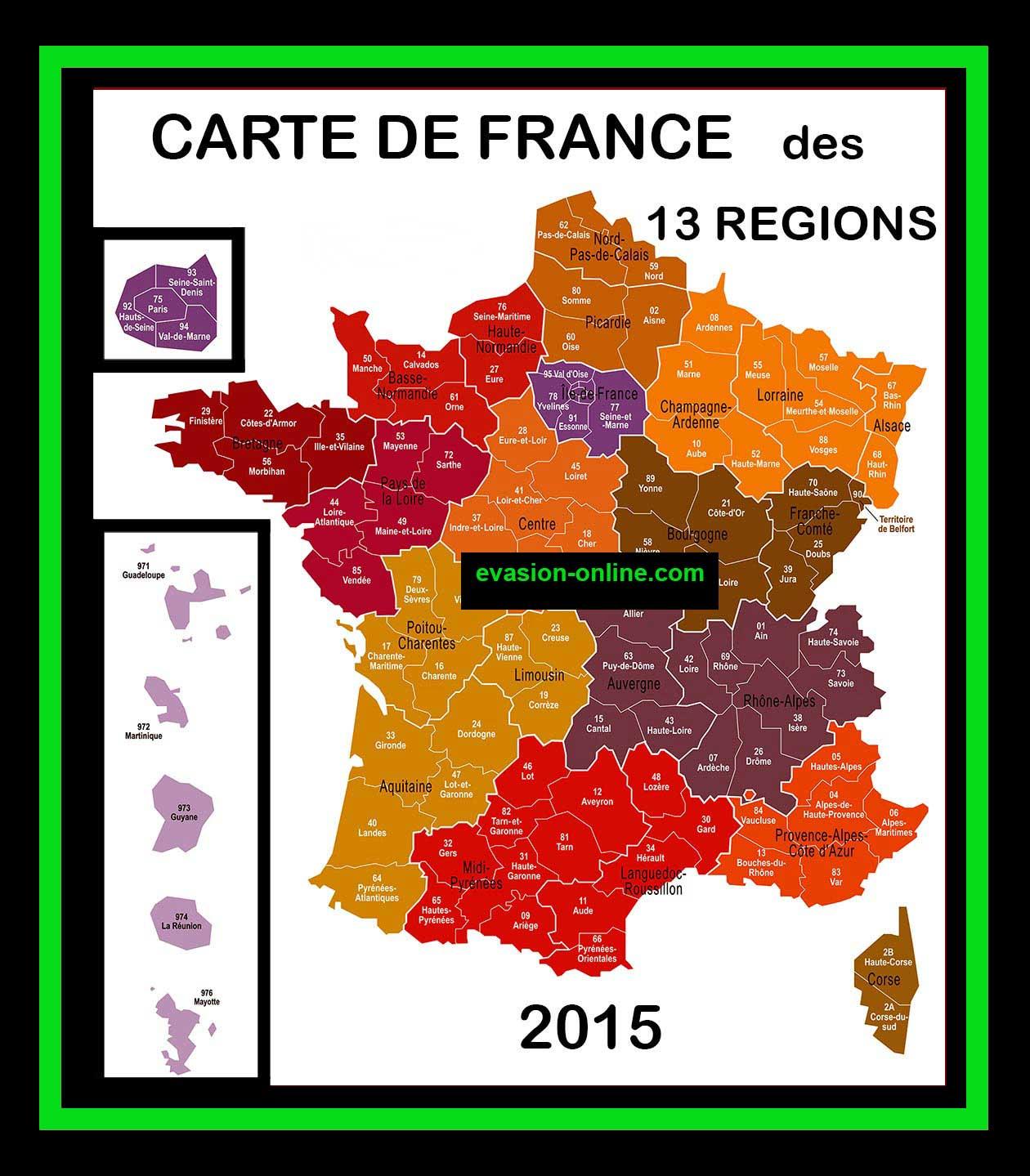 Carte de France 13 Régions » Vacances - Arts- Guides Voyages