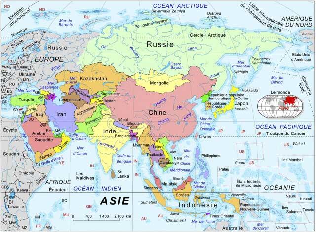 Carte des Pays de l'Asie