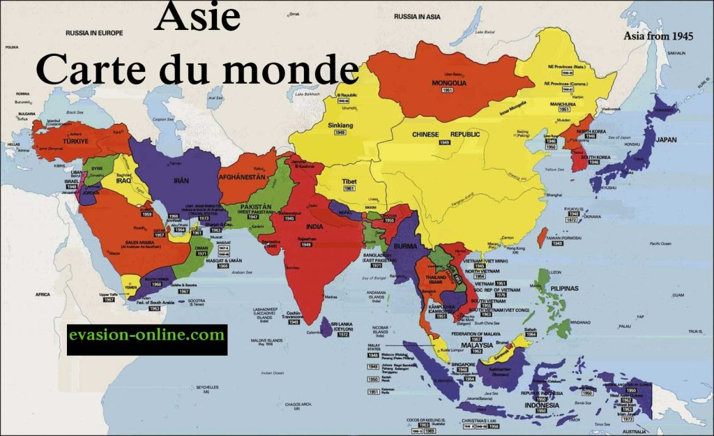 Asie - Carte du monde