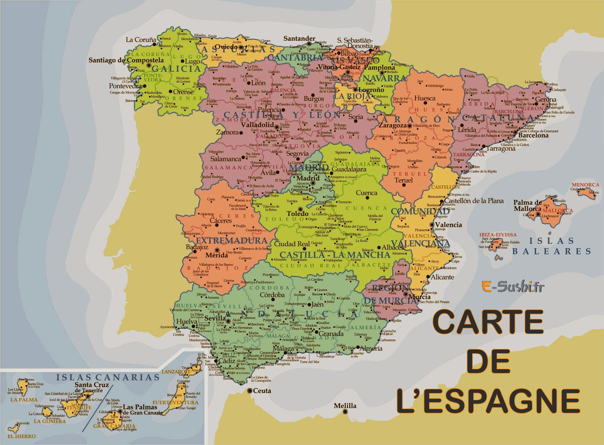 Carte des régions en Espagne