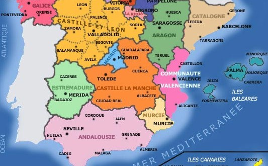 Carte Espagne