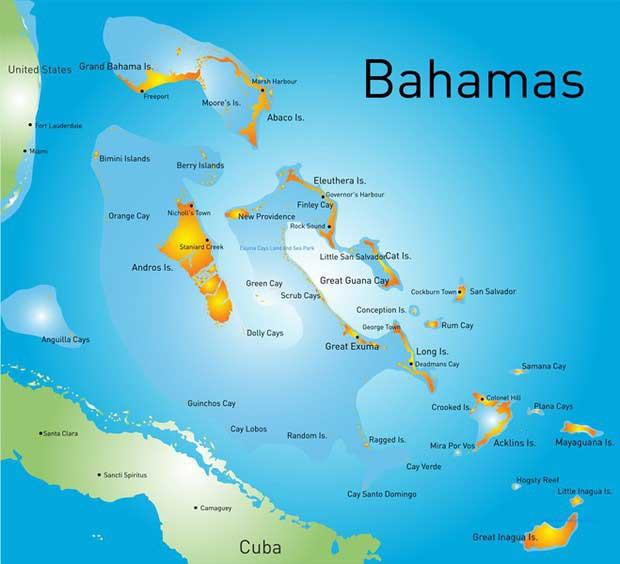 carte des Bahamas