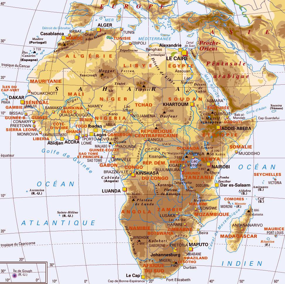 Afrique - Carte géographique
