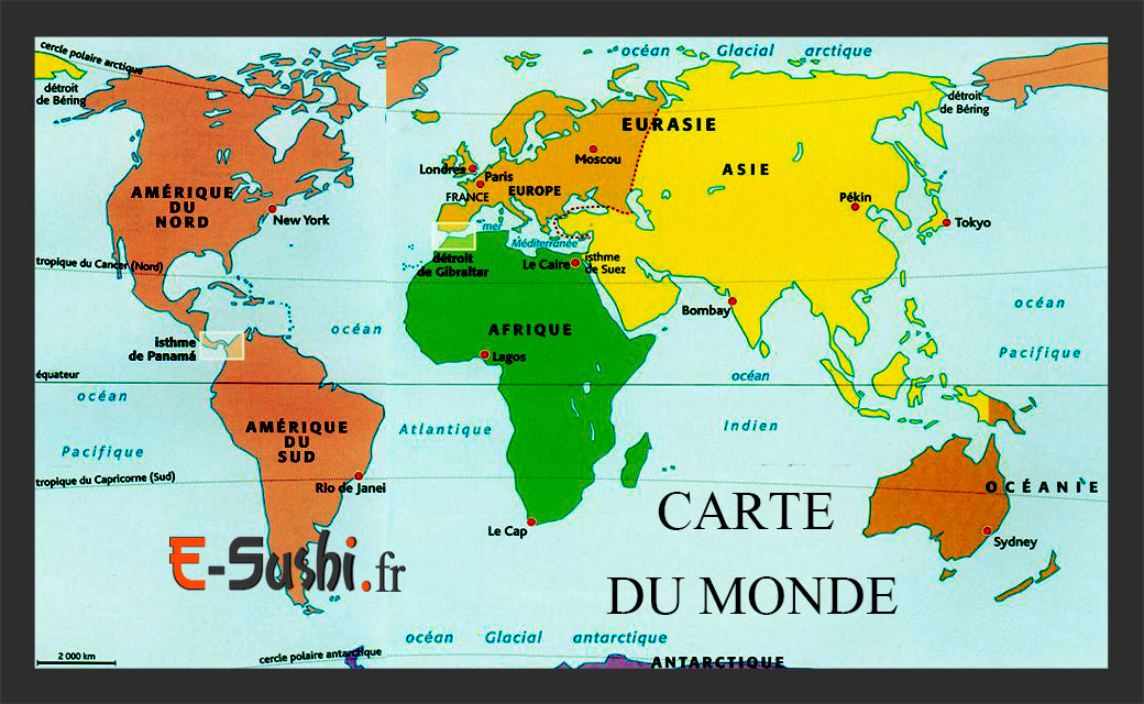Carte Monde-continents