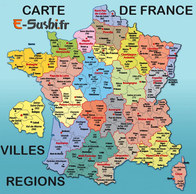 carte de france avec departement