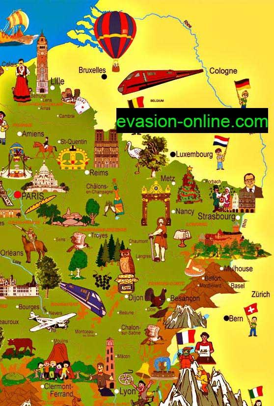 Carte de France touristique quart Nord-Est