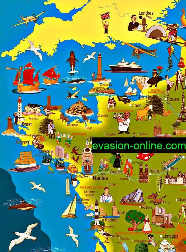 Carte de France touristique quart Nord-Ouest