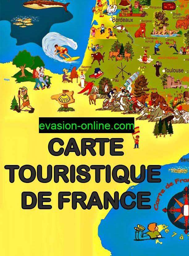Carte de France touristique quart Sud-Ouest