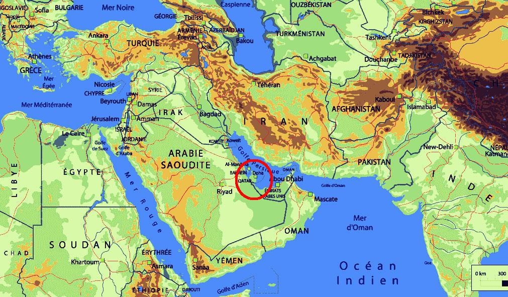 Carte du Qatar - situation géographique