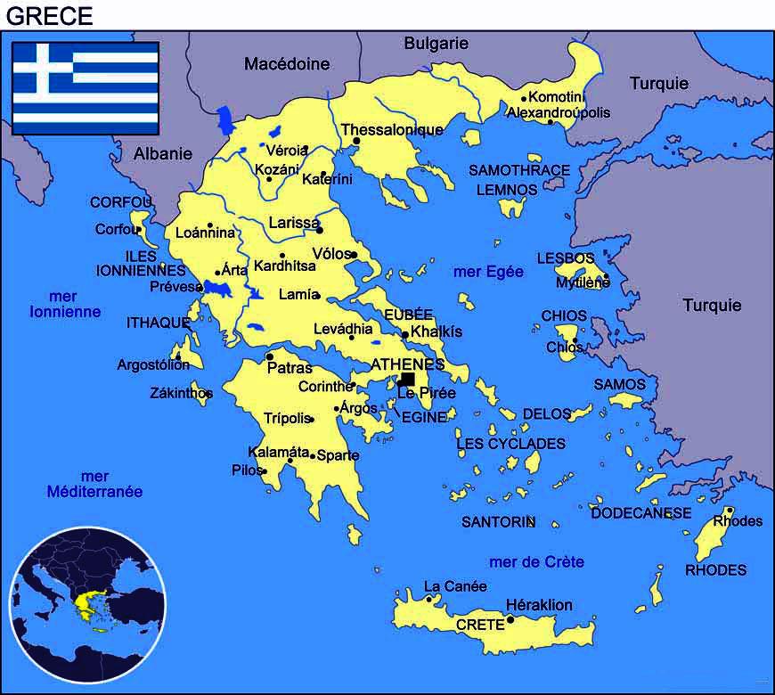 Carte Grèce - Plan des villes