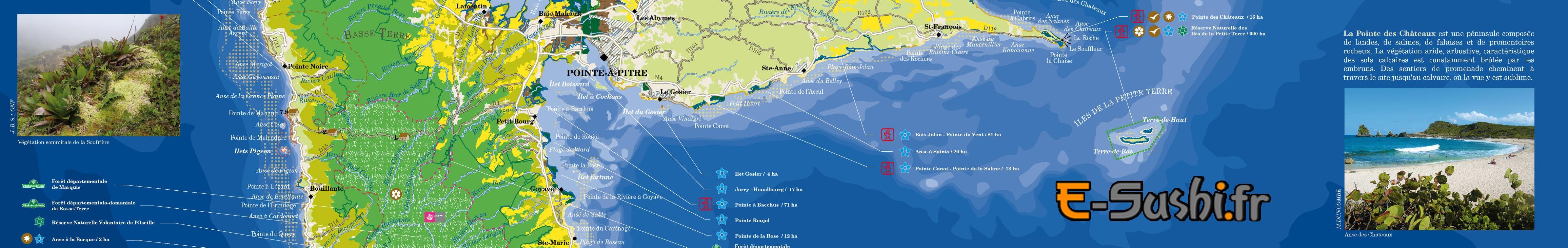 Carte touristique de Guadeloupe Sud