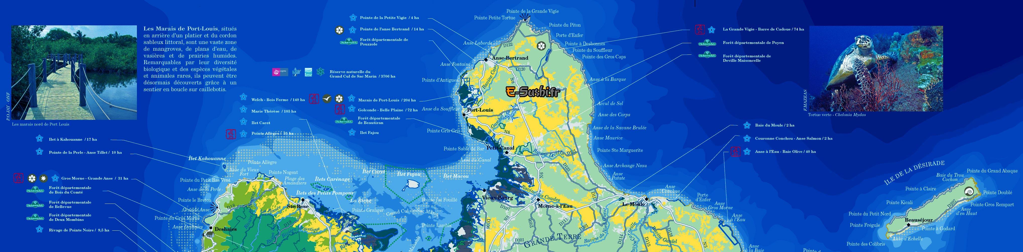 Carte touristique de Guadeloupe Nord