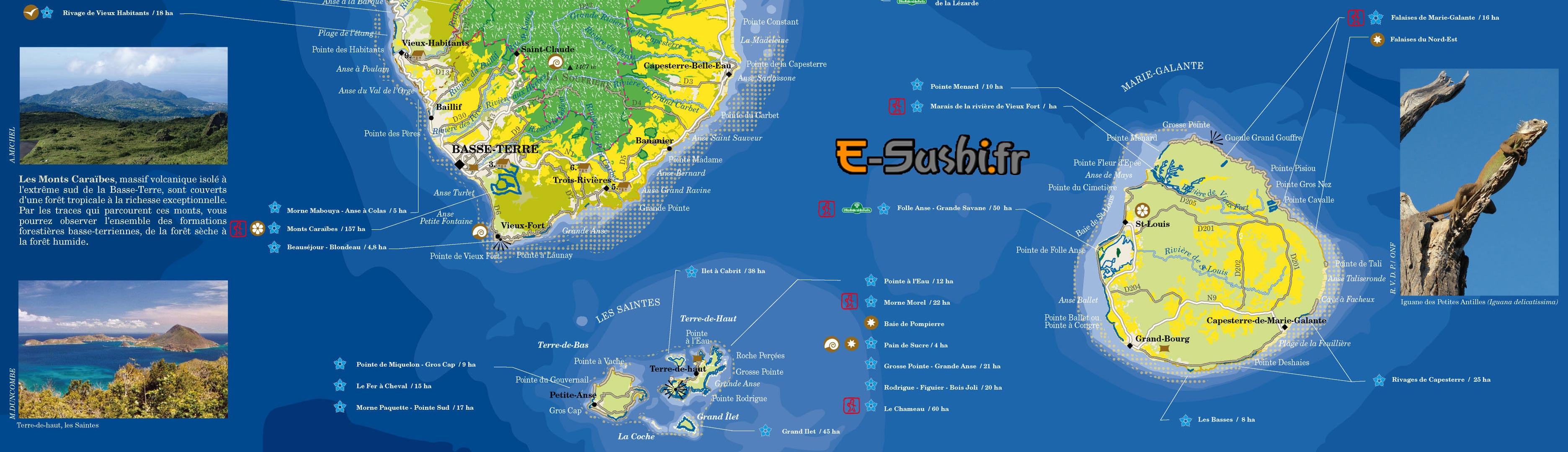 Carte touristique de Guadeloupe Centre