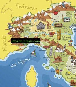 Carte Italie touristique N-O
