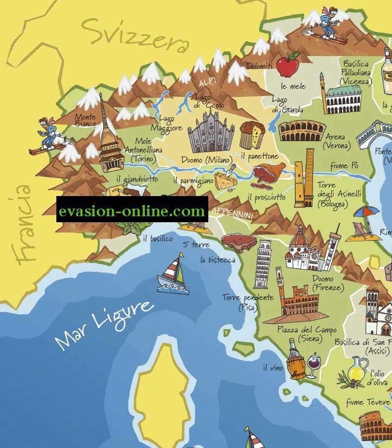 Italie carte touristique