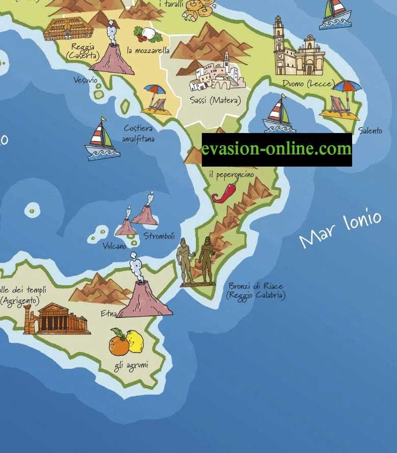 Carte Italie touristique S-E