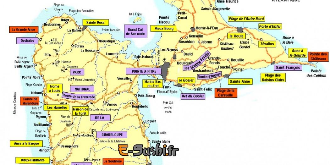 Carte touristique de Guadeloupe » Vacances   Arts  Guides Voyages