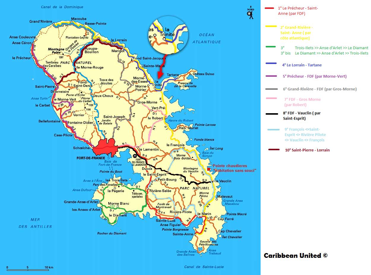 Carte Martinique géographique » Vacances   Arts  Guides Voyages