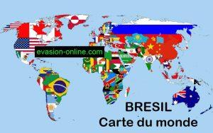Carte géographique Bresil dans le monde
