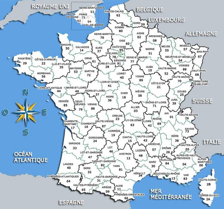 Carte de France avec départements