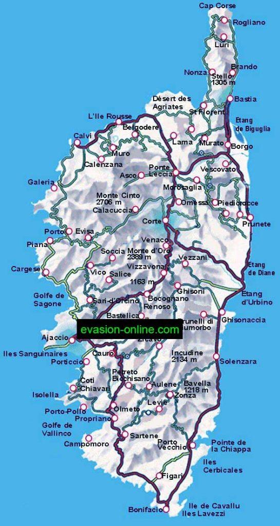 Carte détaillée de la Corse