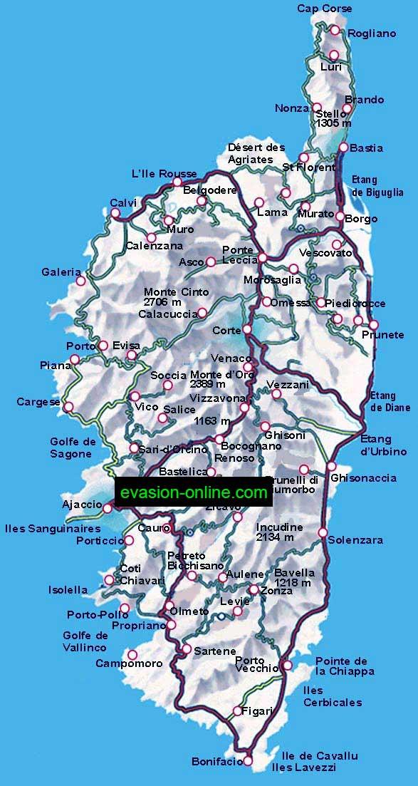 carte de corse du sud détaillée