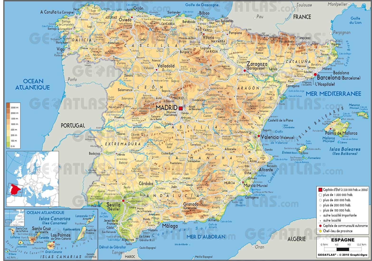 carte espagne nord barcelone