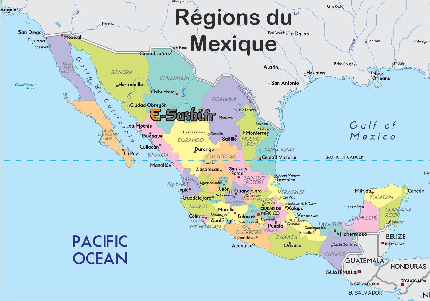 Carte des régions du Mexique