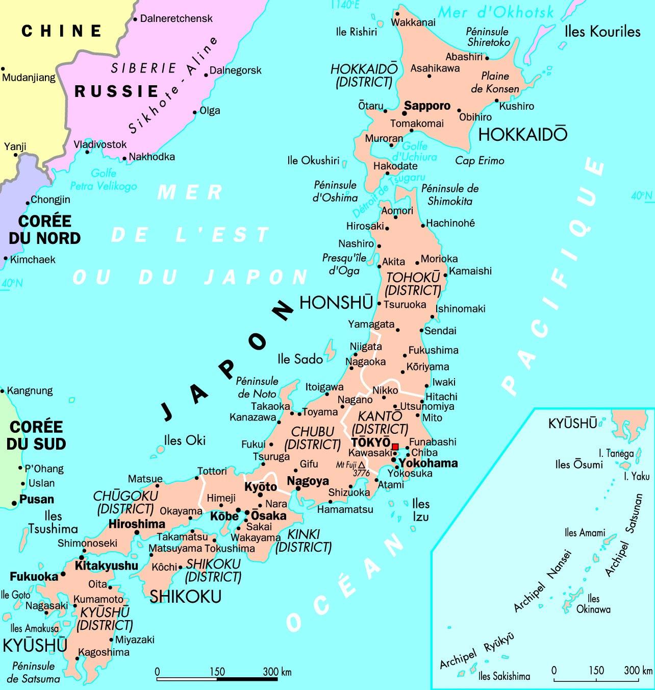 Japon - Carte détaillée