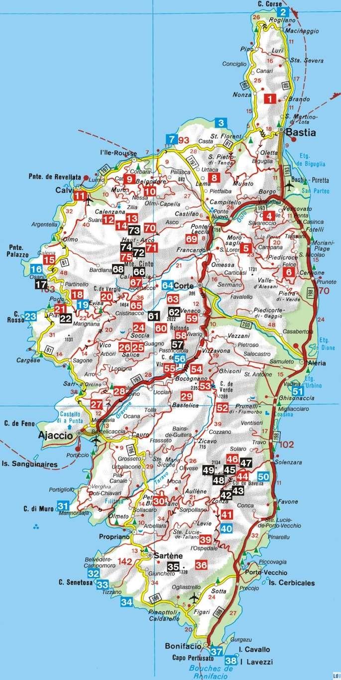 carte corse du sud détaillée carte corse détaillée Archives   Voyages   Cartes